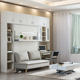 Customized Melamine White Murphy Bed with Sofa, Modern Vertical Wall Bed