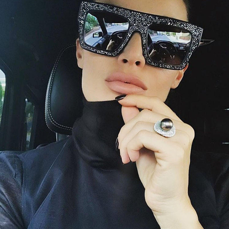 shades Star Luxury women Rhinestone Popular style Big frame New Cool Sunglasses