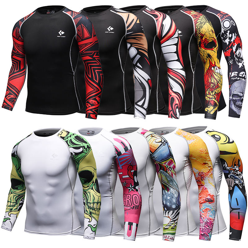 Digital Print Compression Wear Custom Made MMA BJJ Rashguard Long Sleeve Mens Sports T-shirt
