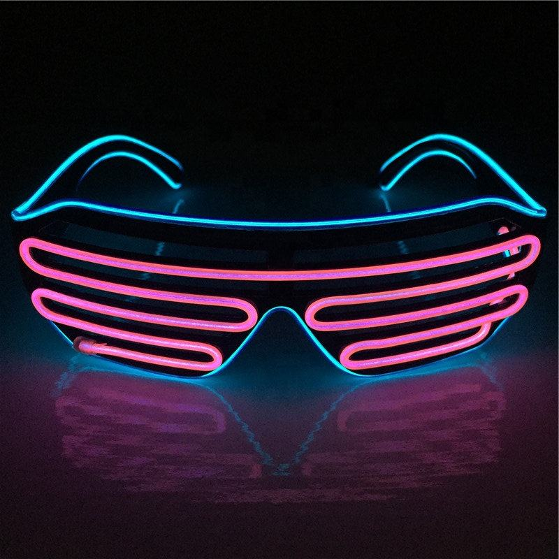 Venda quente Halloween Neon Fio EL Flashing Light up <span class=keywords><strong>Festa</strong></span> Rave Led Óculos Com CE