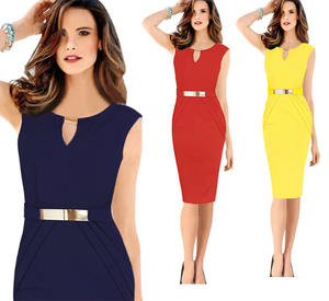 Latest Lady Elegant Summer Classic Sleeveless Pencil Wear to Work Dresses Business Office Chic Bodycon Formal Dress for Women