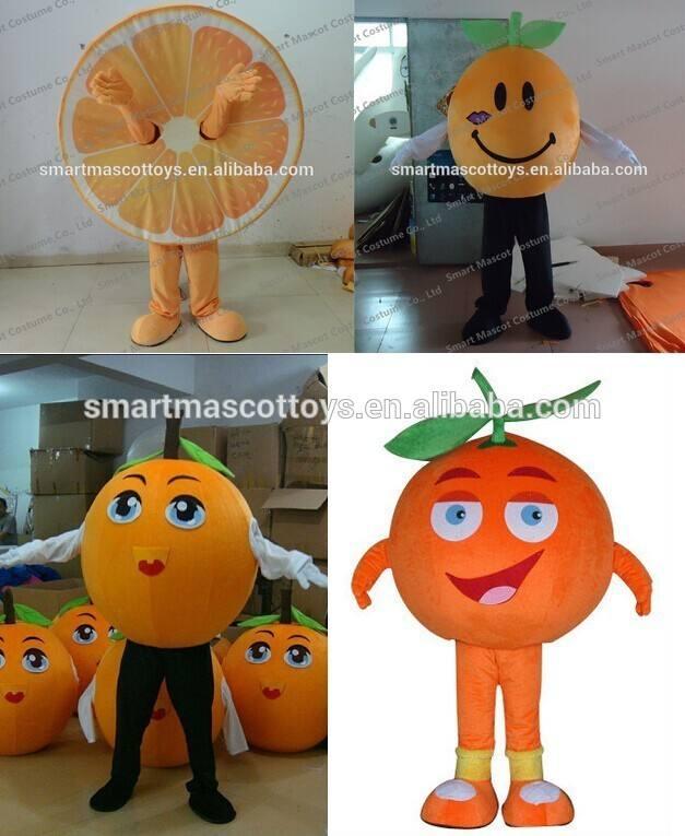 fábrica de venta directa de la naranja <span class=keywords><strong>traje</strong></span> de la mascota de peluche de color naranja de la fruta de disfraces para adultos