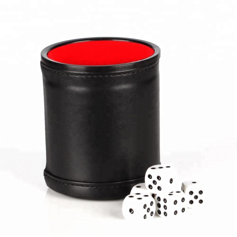 Eco-friendly [ Leather Dice Cup ] Manufacturer OEM Black Leather Dice Cup With Red Velvet