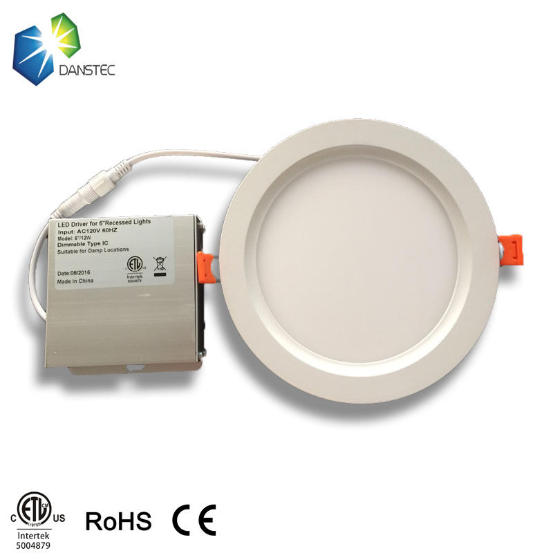 ETL cETL led round concealed ceiling light 4inch 6inch led panel light 12w
