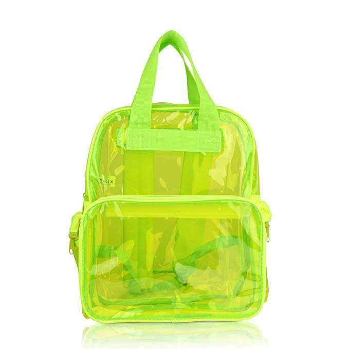 Small Transparent Clear Backpack in Neon Yellow