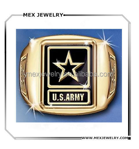 High Polished Gold U.S. Army Men's Military Ring With Army Strong Engraving Wholesale