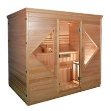 Fico steam sauna room in poland with wood burning stove