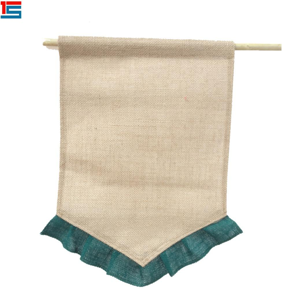 Popular burlap material kids DIY garden flag banner