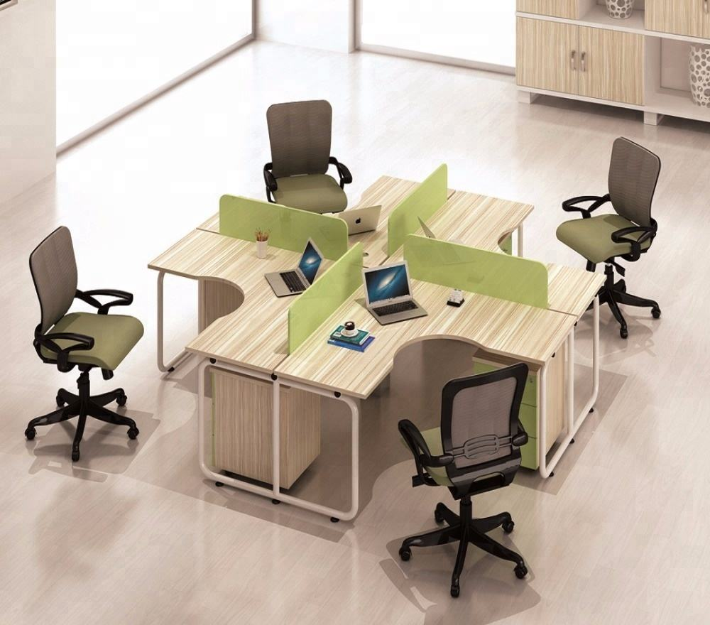 Modern 4 seat office workstation design small office cubicle