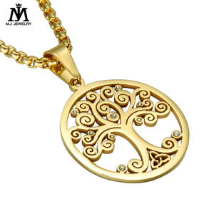 The New Hot Gold Stainless Steel Celtic Knot Tree Diamond Pendant
