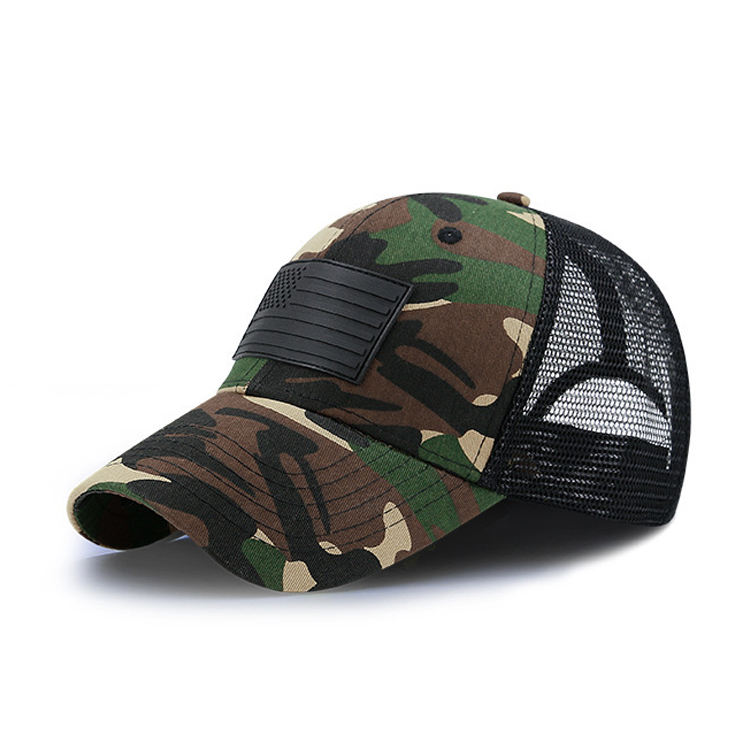Wholesale Digital Camo Trucker Cap Patch Adjustable Pasted Applique Camo 6 Panel Hat Camo Mesh