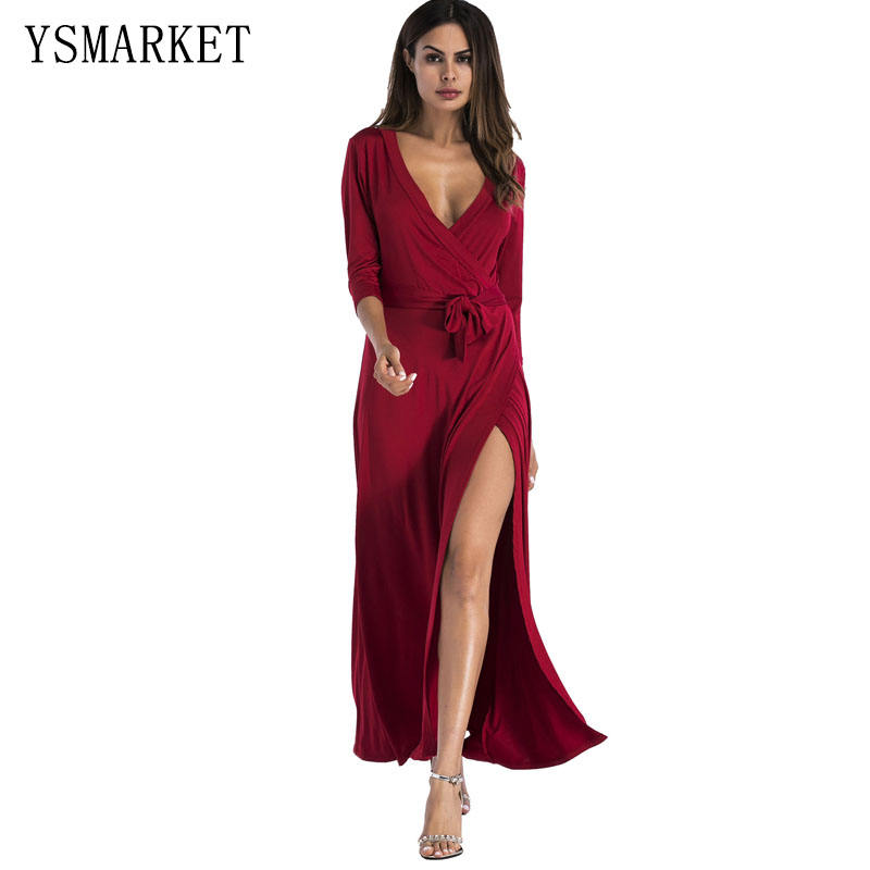 YSMARKET V Neck Long Sleeve Slit Maxi Sexy Dress Autumn Casual Clubwear Women Elegant Dresses Party Clothing Vestidos De Fiesta