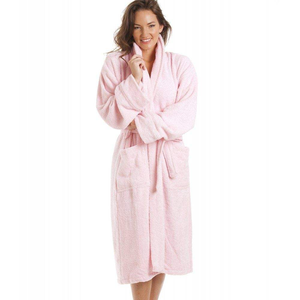Womens Ladies Luxury Light Pink 100% Cotton Towelling Pink Women Sleepwear Bath Robe