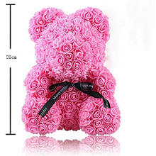 Rose Flower Teddy Bear Gift Box Valentine Day Anniversary Bridal Wedding Gifts Artificial Foam Roses Bear With Box