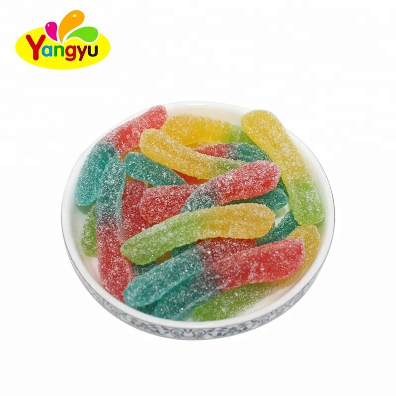 Wholesale Yummy Sugar Coated Earthworm Gummy Soft Candy In Bulk