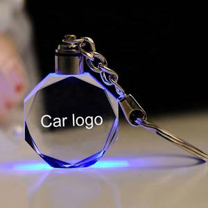 cheap wholesale led light k9 blank crystal keychains custom big size 3d laser car logo crystal glass keychain for giveaways