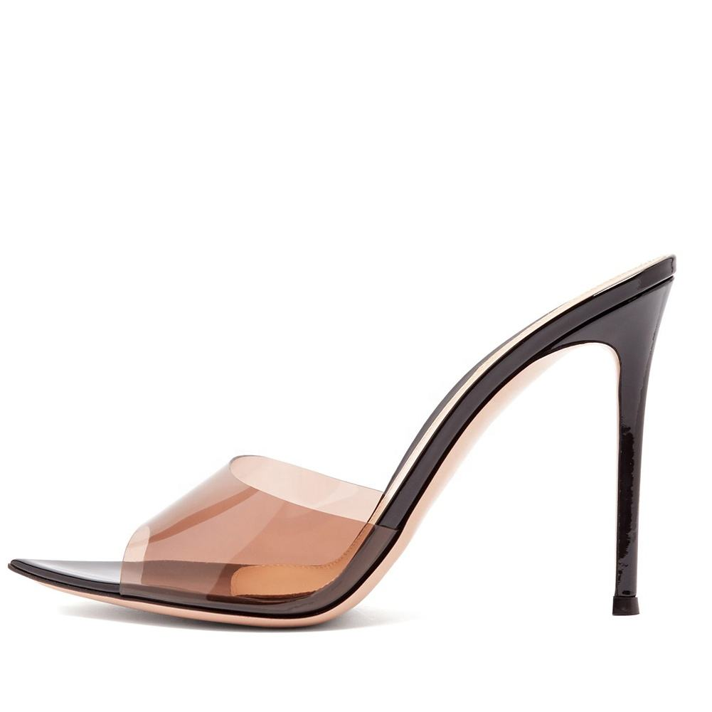 Trendy Sexy Heeled Ladies Pointed Open Toe Slip on Party High Heel Slides Clear Heels Mules Woman Nude PVC Transparent Shoes