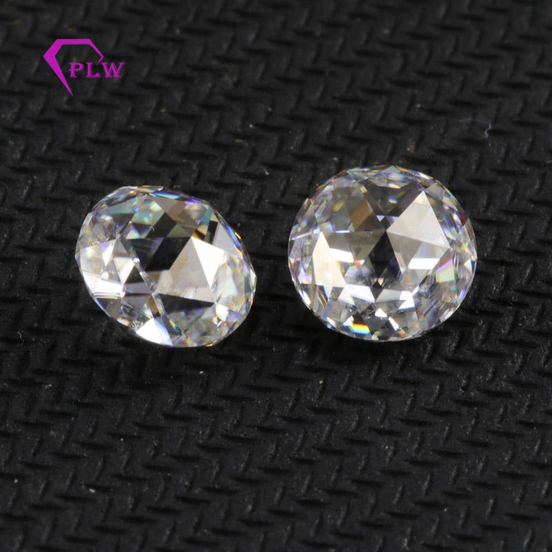 Wuzhou factory EF color VVS round 8mm double side rose cut moissanite