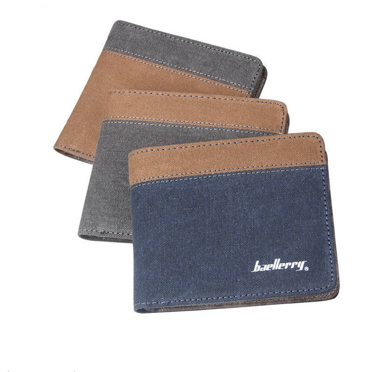 Wholesale baellerry saimple design casual teenager canvas men's wallet