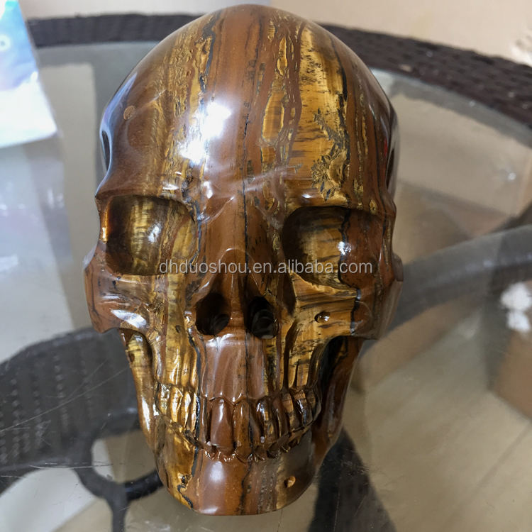 Wholesale Natural Tiger Iron Eye Super Realistic Carved Stone Crystal Skull for Sale