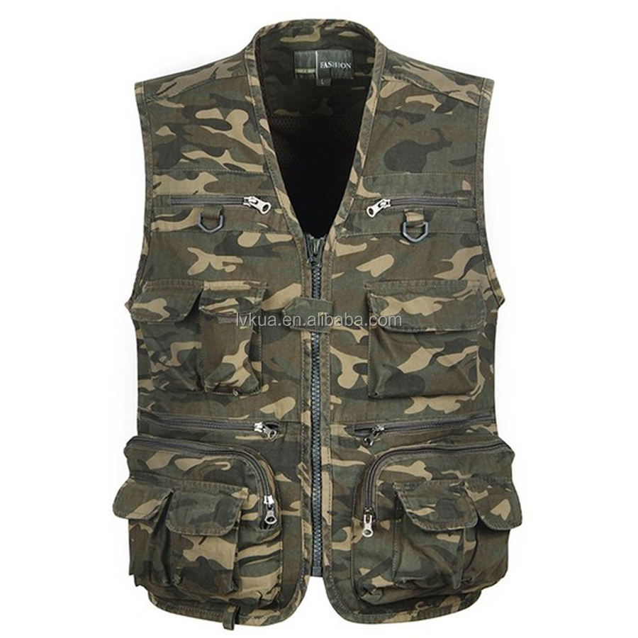 2016 Summer New Multi-pocket Demin Vest Photographer Camouflage Hiking Vest Outdoor Shooting Hunting Fishing Vest Size L-4XL