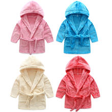 Boys Girls Solid Hooded Fleece Sleep Robe Bathrobe Variety of Colors Children Kids Robe