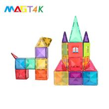 MAGT4K 69 PCS Hot Wheel Toy Cars Safety Plastic Cube Magnetic Creative Building Blocks