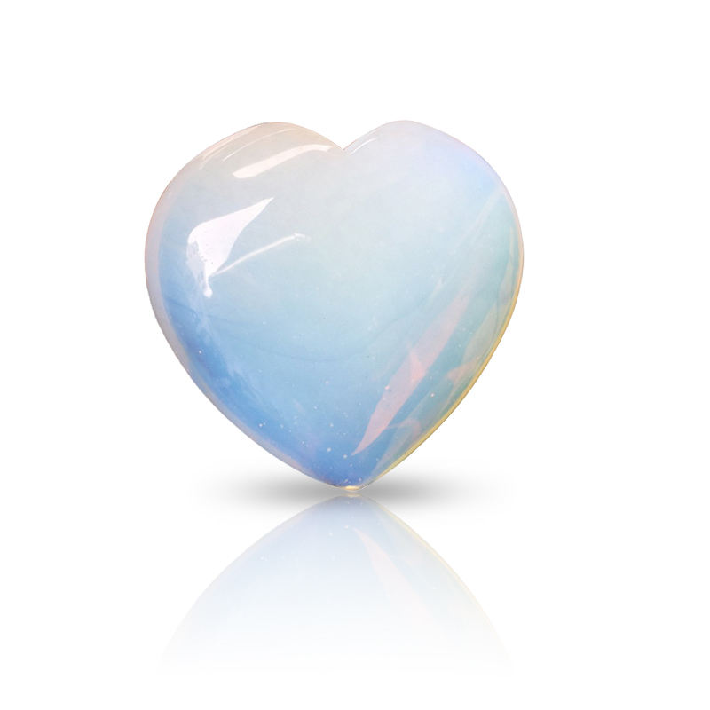 Amazon Best Worry Stone Opaline Lucky Stone Heart Cosmetic Hand Carved Crystal