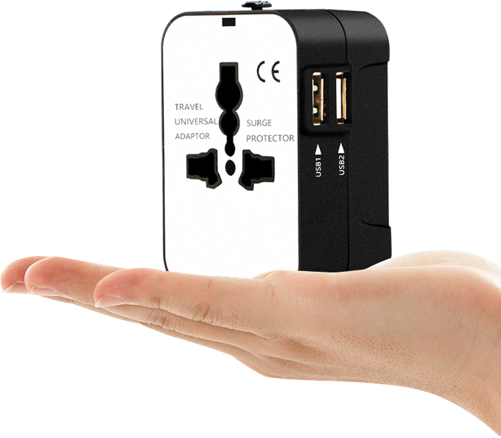 International travel adapter with 2 usb surge protected ac universal socket
