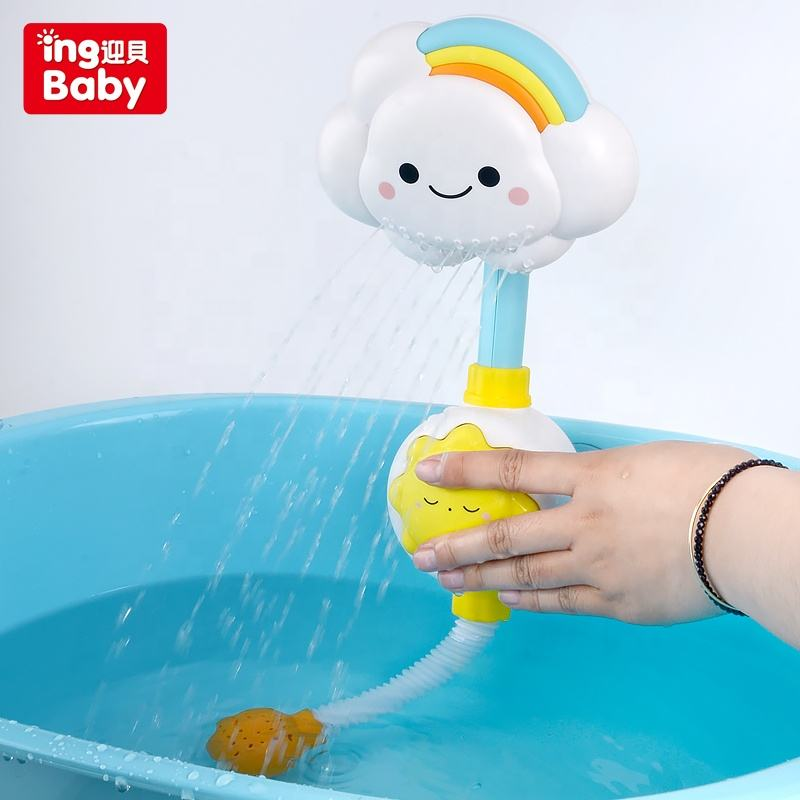 ingbaby spray water electric LED light rainbow colorful cloud sun star shower sprinkler bath water game bath toys toy