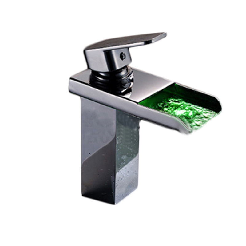 Square Single Lever brass Waterpower led Basin Mixer faucet tap