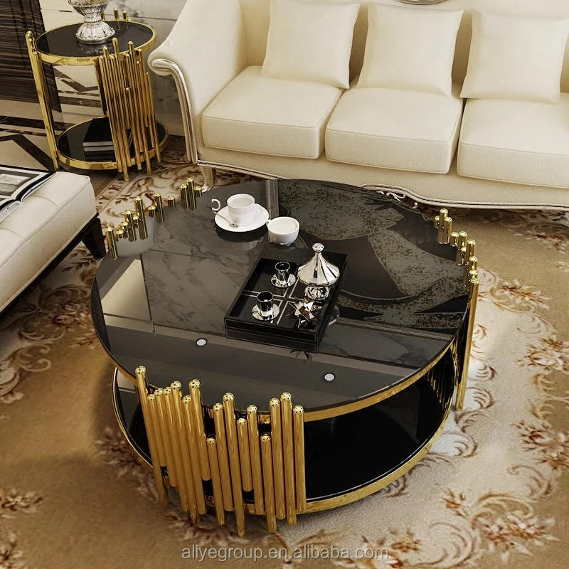 Luxury round glass coffee table with stainless steel rose gold fish scale base