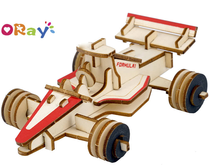 Oray Custom Wooden Puzzle 3D Cartoon Car Model for children