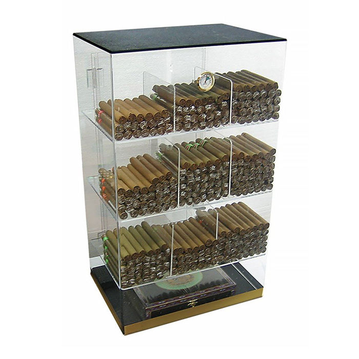 Counter top Acryl Sigaar Display Humidor met Luchtbevochtiger en Hygrometer Clear 4 Lagen 9 Bins Mode Acryl Sigaar Display Box