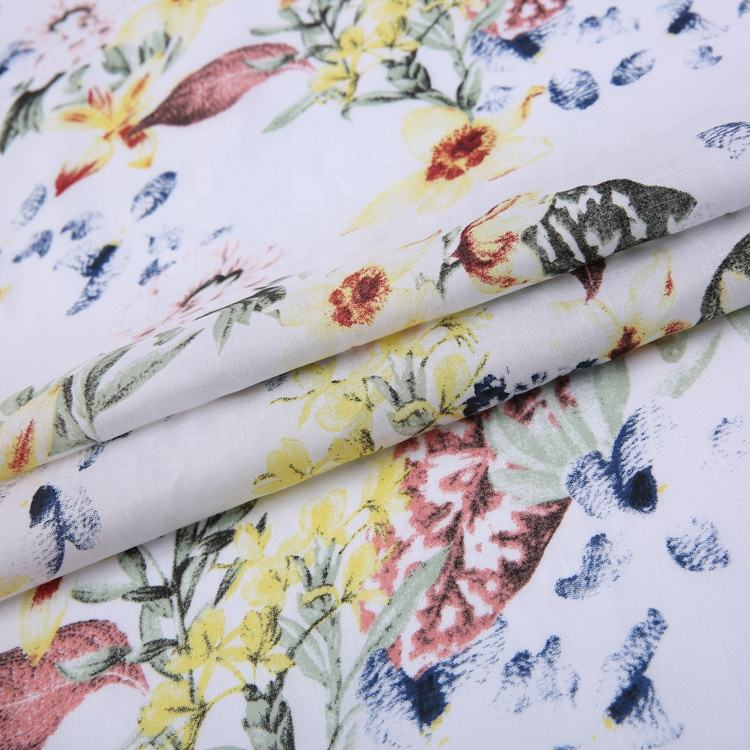 Beautiful floral design soft woven plain style custom print cotton fabric for children