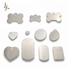Cheap Aluminum Stainless steel Blank Bone Shaped Dog Tag