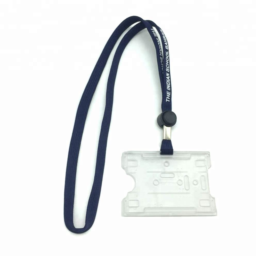 Custom Logo Tubular Lanyard Adjustable Length Plastic Id Card Holder Neck Strap Metal Crimps For Lanyards