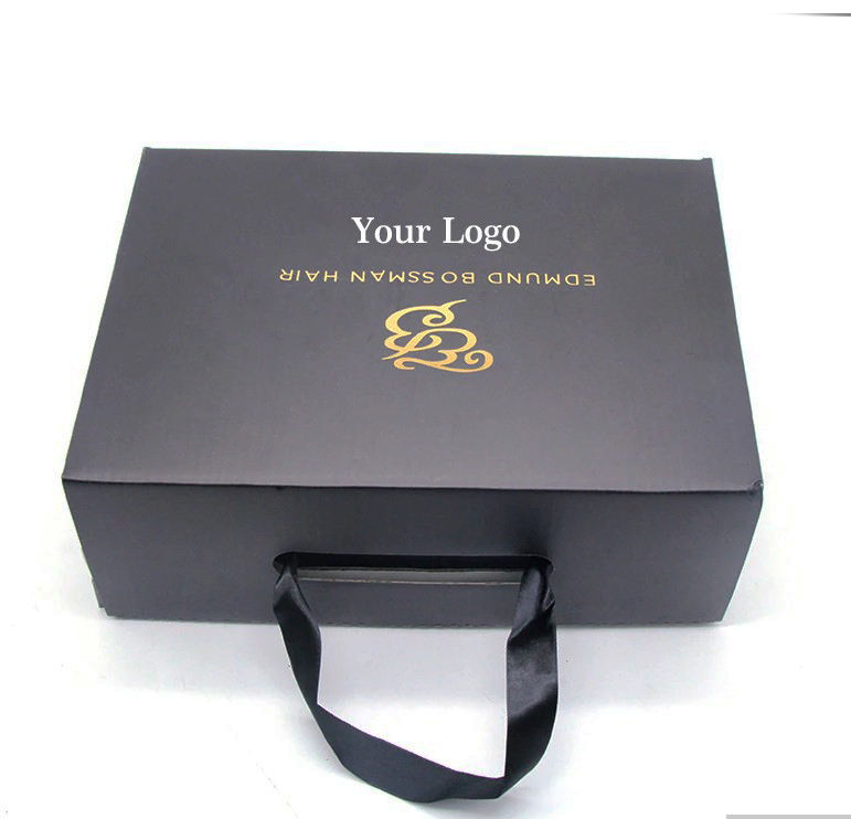 Custom Printing Black Gift Box Shoe Clothing Packaging With Ribbon Handle