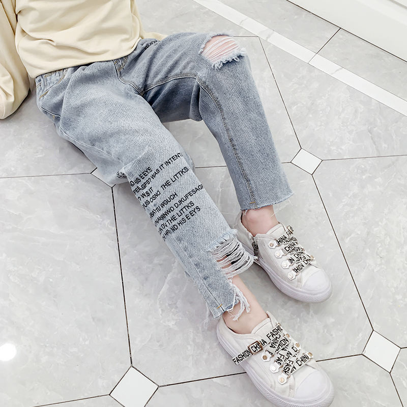 Good Quality Girls Fashionable Spring Washed Denim Pants Kids Letter Printed Jeans