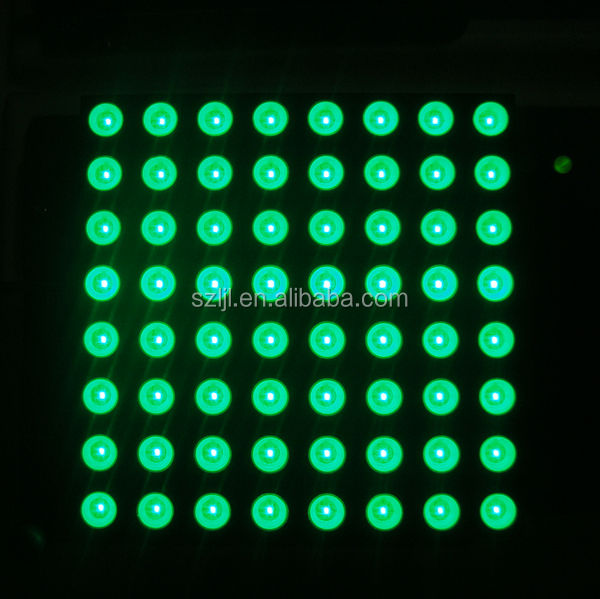 60.2*60.2mm warna Hijau 8x8 led matrix/dot matrix display
