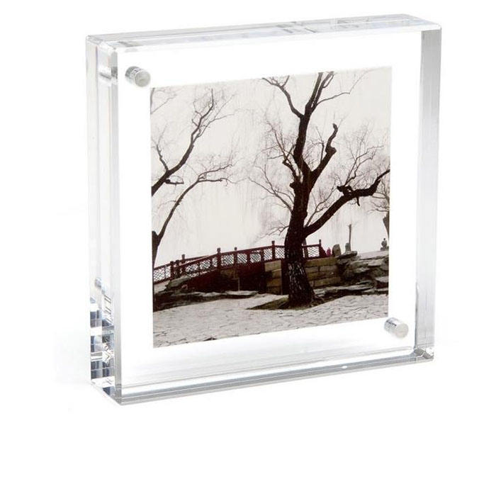 Tabletop Simple Design Square Clear Magnetic Acrylic Picture Photo Frames