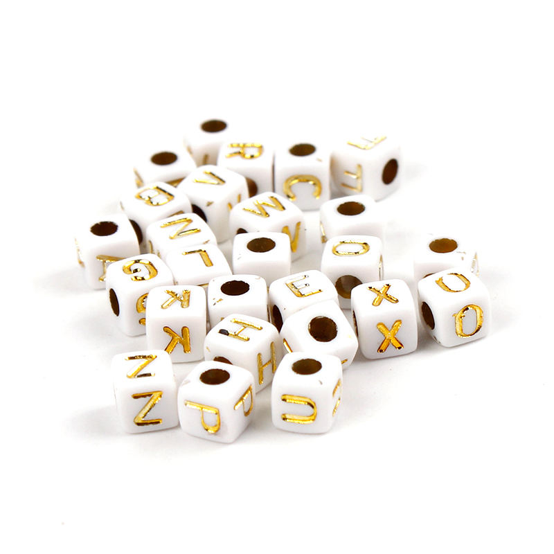 5mm white cube alphabet beads with gold letter for Handmade Accessories