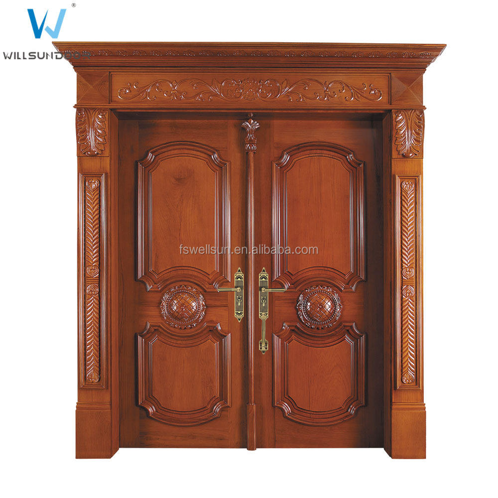 Classical front main double door design kerala door