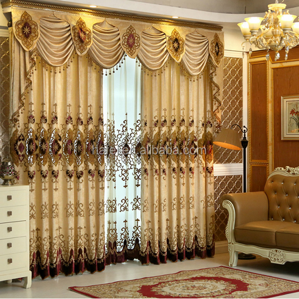 Luxury Ready Made Valance Living Room Jacquard Chenille Curtains Textile