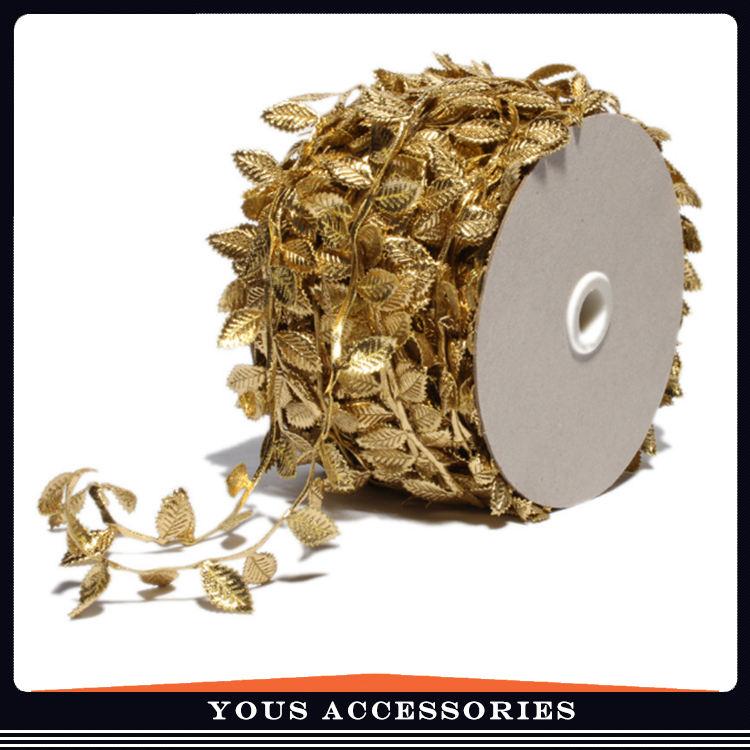 Hoja de oro y plata línea de cinta hojas tela, cinta en relieve ropa Headwear accesorios hechos a mano del cordón