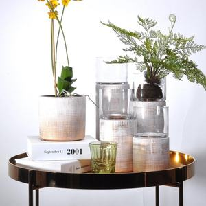 Luxury modern new design ceramic gold silver glazed plant pot for orchid plant