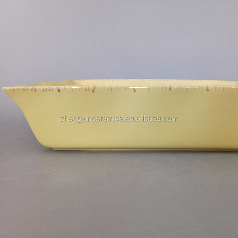 Stock hot sale manufacture ceramic solid color bakeware