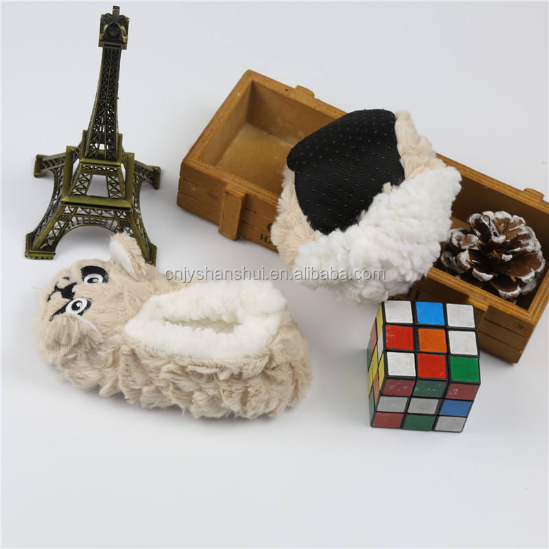 Indoor animal shaped slippers fuzzy plush kids winter slippers shoes