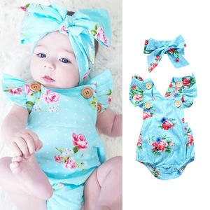 Hao Baby Clothes Children's Clothing Spring 1-3 years old Baby Conjoined Clothes Romper Summer 2019 Blue Flowers Newborn Clothes