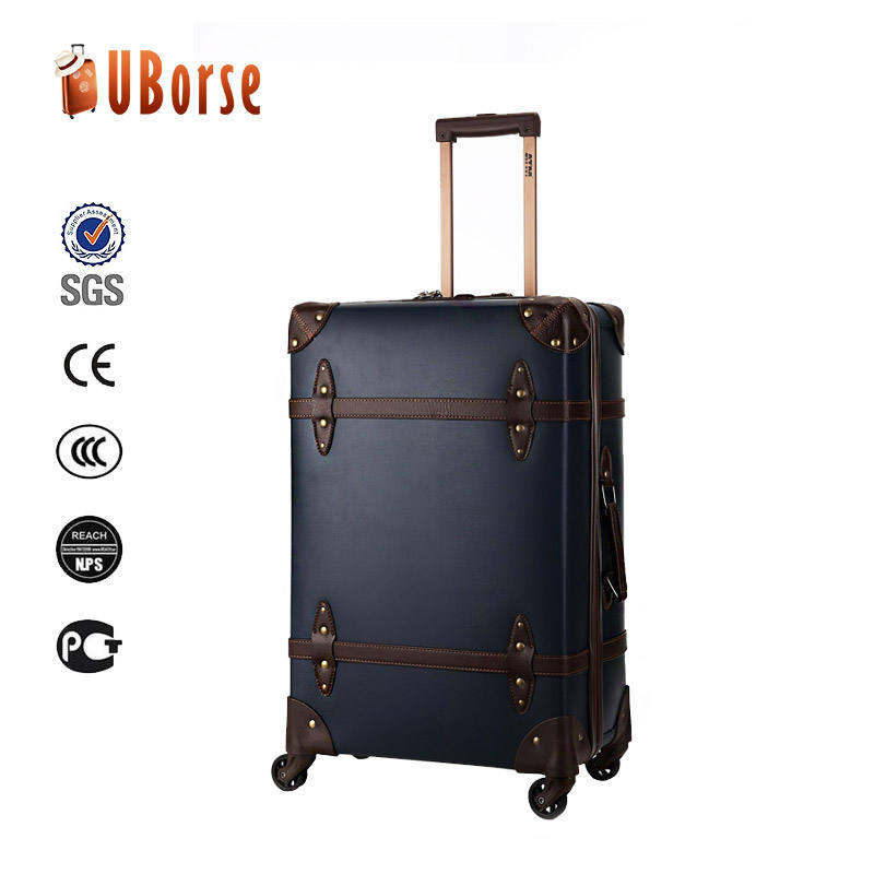 Trolley luggage bag black pu leather business travelling carry on luggage